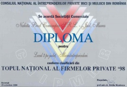 Diploma Topul National al Firmelor 1998